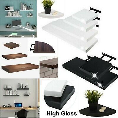 Hudson High Gloss Floating Shelf Shelves Display Unit Wall Mounted Bookcase