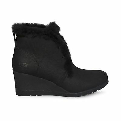 1abf9d603cd UGG JEOVANA BLACK Suede Waterproof Wedge Ankle Lace Womens Boots Size Us  9.5 New
