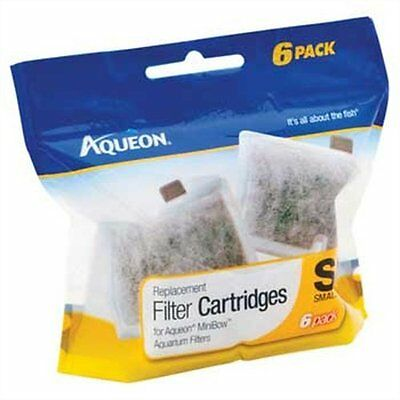 New Aqueon Replacement Cartridges Small sm 6 Pack pk for Mini Bow filter