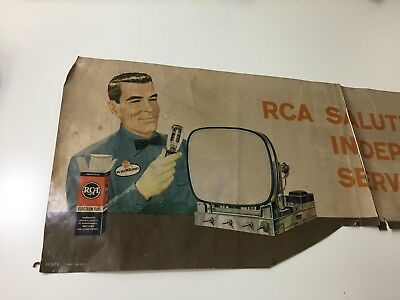 Vintage RCA TELEVISION STORE PAPER SIGN AS IS VERY COOL!