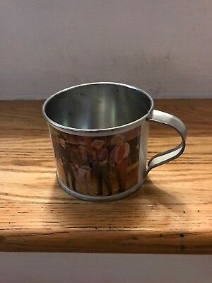 "Vintage Ponderosa Ranch Tin Cup Metal Mug Nevada 2.5"" x 3.5"" Western Cowboy TV"