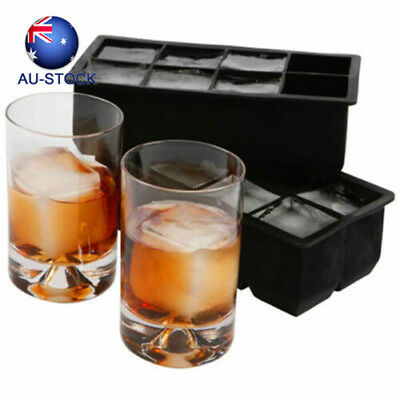 Ice Square Tray Mold Large 8 Cubed Ice Maker Home Bar DIY Tool 2Pcs Silicone Fo