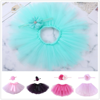 Infant Baby Girls Tutu Skirt and Flower Headband Bow Set Photo Props Outfit