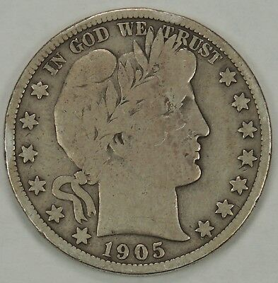 1905-S 50C Barber Silver Half Dollar (As Pictured)  FREE US SHIPPING!!! (012319)