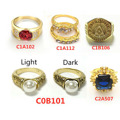 5Style Fashion Wedding Ring for Women Gold Plated Pearl & Gem Ring Jewelry Gift