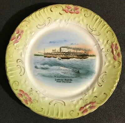 Wheelock Dresden Souvenir Plate Steam Boat Lachine Rapids Near Montreal Antique