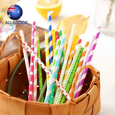 Drinking Straws Home Birthday Party Decoration Supplies 25Pcs Mixed Color Paper