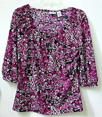 Worthington Petites Stretch Size M Women's Short Sleeve Casual Top Scooped Neck