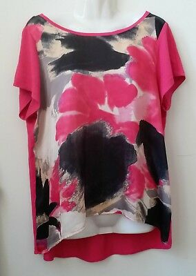 Madison Top Blouse Size L Short Sleeve High Low Stretch Crew Neck Pullover Pink