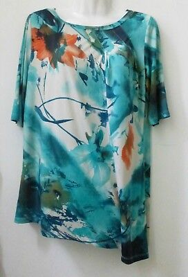 Simonton Says Women's Tunic Top Size M Med Short Sleeve Floral Blue Stretch