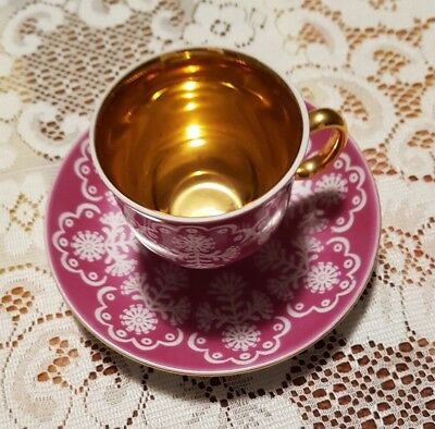 Vintage Small Cup and Saucer White and Mauve with Gilt Gold Coloured Trim