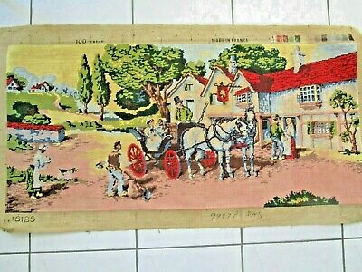 Craft Hand Made Tapestry Completed Framed French The Carriage At The Inn