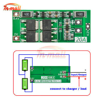 2S 20A BMS Charger 18650 Lithium Li-ion Battery Balance Protection Board