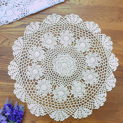 White Vintage Cotton Crochet Lace Doilies Round Table Mats 50cm Small Tablecloth