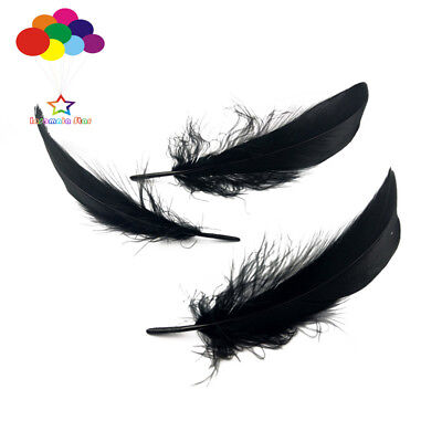100 Pcs Goose feathers black 15-20 Cm/6-8 Inch Diy Stage Props Decor Headress