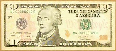 $10 2013 Rare 2 Digit Serial Number (49) in Choice Crisp Uncirculated Condition.