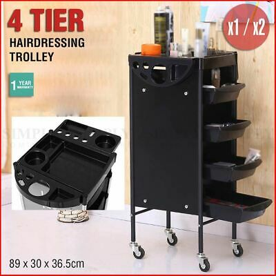 Hairdressing Trolley Salon Beauty Spa Wheel Dresser Drawer Storage Black 4 Tier