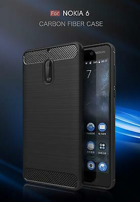 For Nokia 6 Carbon Fiber Heavy Duty Hybrid Shockproof Case Cover