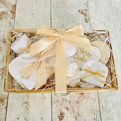 New Baby Neutral Ivory Gift Basket Hamper Baby Shower Present Mum To Be