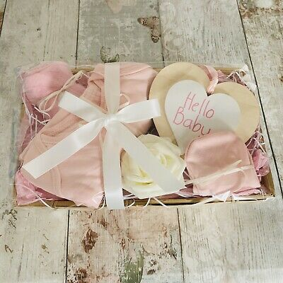 New Baby Pink Ivory Gift Basket Hamper Girl Baby Shower Present Socks Mittens