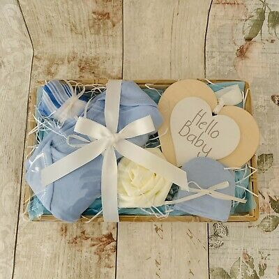 New Baby Blue Ivory Gift Basket Hamper Boy Baby Shower Present Socks Mittens