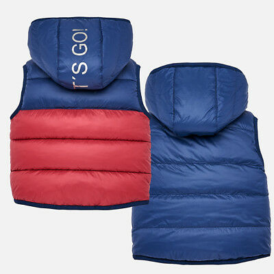 Mayoral Baby Boy Navy/Red Reversible Hooded Gilet - 18 Months
