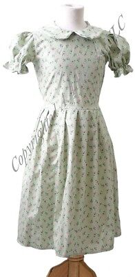 School-Wartime-Narnia-Railway Children EDWARDIAN TURQUOISE FLORAL DRESS All ages