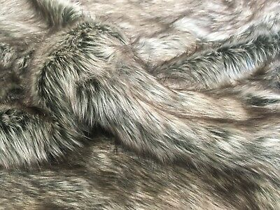 Super Luxury Luxurious Faux Fur Fabric Material - CHARCOAL GREY WOLF