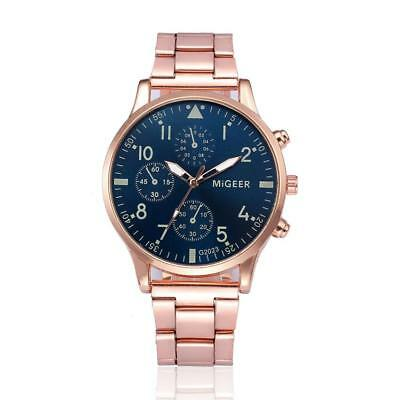 MIGEER'S Mens Fashion Watch Gold Colored Stainless Steel Analog Quartz W6C