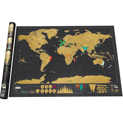 NEW Deluxe Large Scratch Off World Map Personalized Travel Poster Atlas Decor