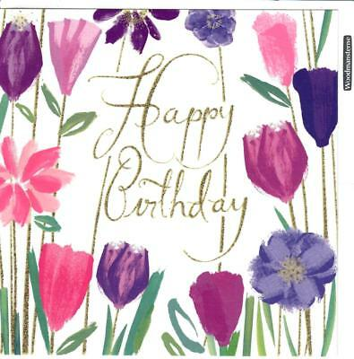 Floral Tulips - Happy Birthday - Greeting Card