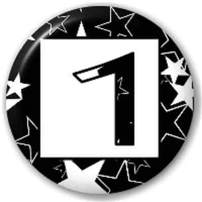 SMALL 25mm NUMBER 1 - STARS – PIN BUTTON BADGE