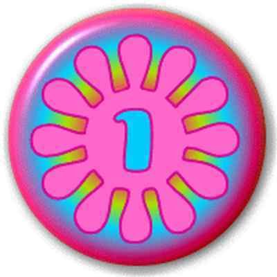 SMALL 25mm NUMBER 1 - FLOWER – PIN BUTTON BADGE
