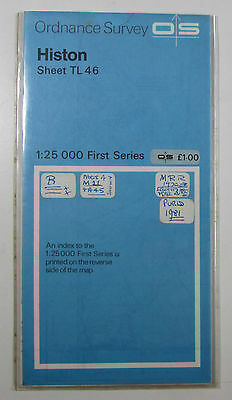 1980 old vintage OS Ordnance Survey 1:25000 First Series map TL 46 Histon