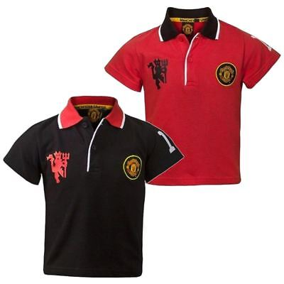 Kids Boys OFFICIAL Manchester United Polo T-shirt Top Red Devil Football Team