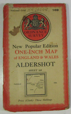 1946 Old OS Ordnance Survey One-Inch New Popular Edition CLOTH Map 169 Aldershot
