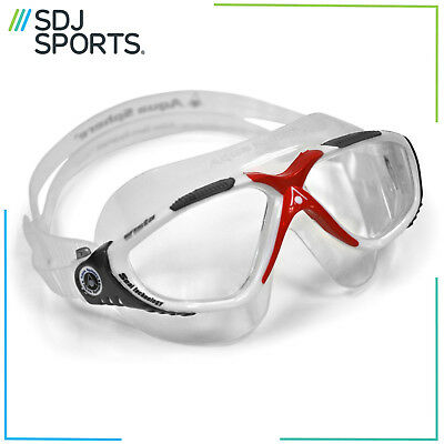 Aqua Sphere Vista Mens Adult UV Anti-Fog Swimming Goggles Clear Red/White/Grey