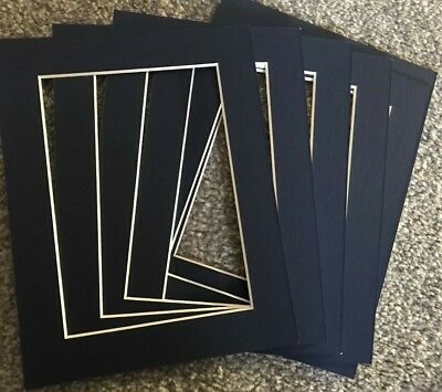 """6 Dark Blue Picture Frame Photo Mounts 9X7 Inch For 5X7"""" Photograph Bevelled"""