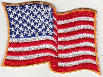 """3 Pcs Waving USA American Flag iron-on Embroidered Patches 3.5""""x2.25"""""""