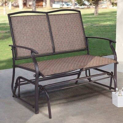 BROWN 2 PERSON Patio Glider Sofa Bench Outdoor Furniture Garden Deck ...