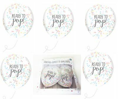Baby Shower Decorations Balloons Confetti Fill Ready To Pop Unisex Mum To Be 5PK