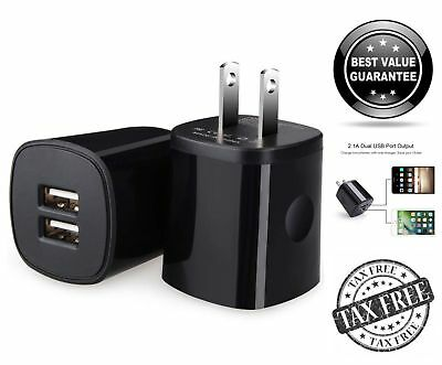 2 Pack Double USB Wall Charger 2.1A Dual Port Charging Cube Power Brick Adapter