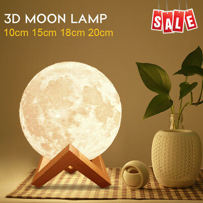10-20cm Rechargeable 3D Luna Night Light Moon Lamp Touch Switch Wooden Stand US