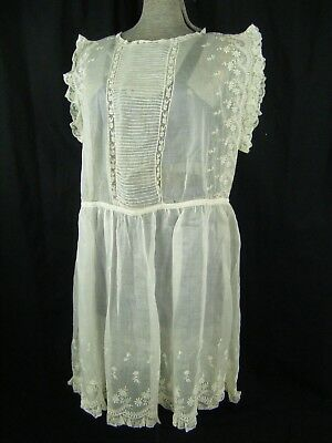 Antique 1920s Ivory Sheer Lace Embroidery Chiffon Silk Dress-Bust 40/S