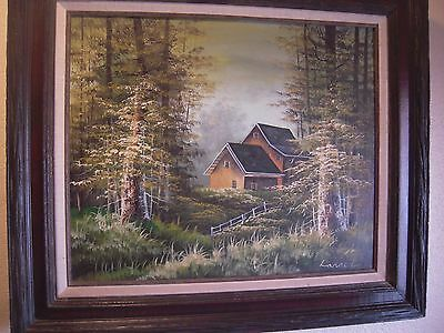Vintage Oil on Canvas Painting of Cabin in Forest Signed Larson in Rustic Frame