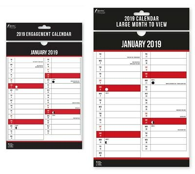 2019 Calender Monthly A3 A4 Month To View Easy Slimline Large Slim Wall Planner