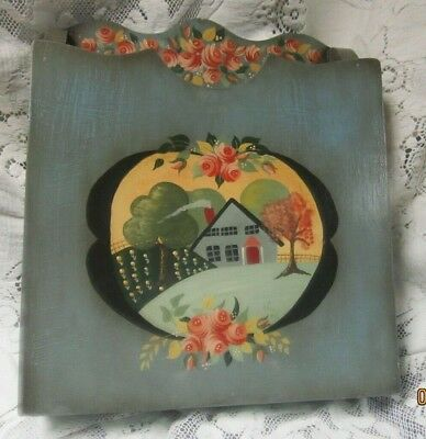 Vintage Tole Hand Painted Wall Counter Wood Folder Size Box