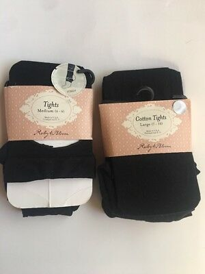 Ruby And Bloom Kids Girls Tights And Stirrup Size 4-6/7-10 Black New