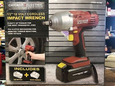 Chicago Electric Impact Wrench 1 2 18 Volt Cordless Variable Sd Item 60380