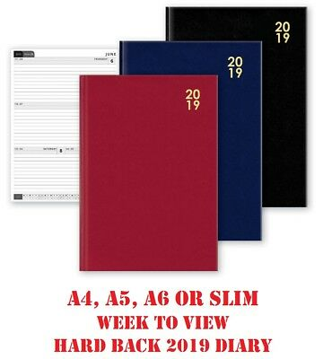 2019 Diary A4 A5 A6 Slim Slimline Hardback Week To View Pocket Desk Diaries